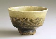 飴釉縄文茶碗    径14.0cm  1948年