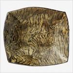 灰釉流描角平鉢
