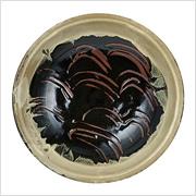 黒釉縁白指描大鉢 1970年