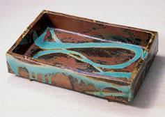 柿釉青流角鉢    長辺44.0cm  1954年
